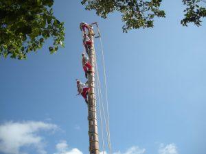 4 Personen erklimmen einen Mast.